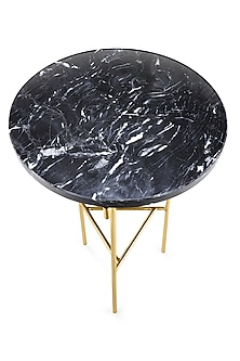 Golden Round Table With Black Marble Top by Metl & Wood