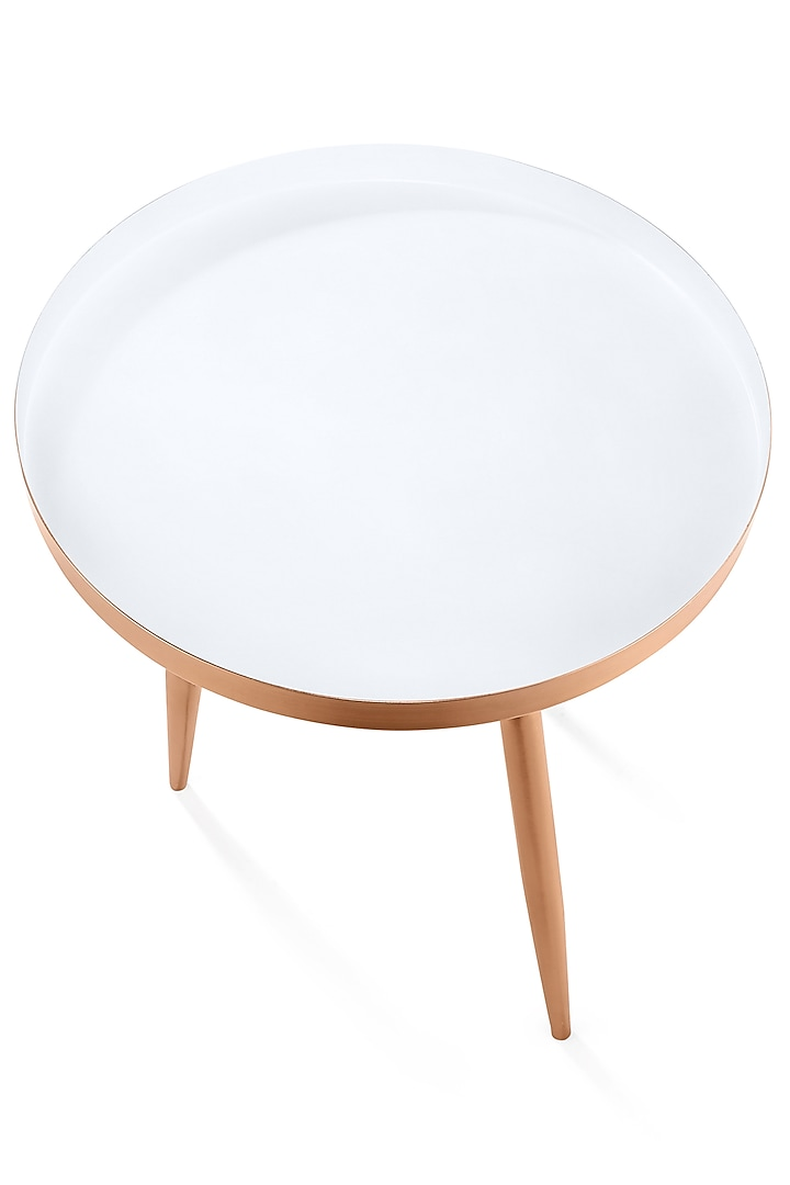 Copper Gold Three Legged Table by Metl & Wood