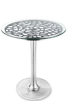 Silver Table With Glass Top by Metl & Wood