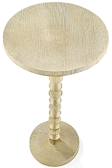 Golden Round Aluminum Table by Metl & Wood