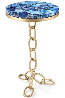 Gold Round Table With Blue Agate Stone by Metl & Wood