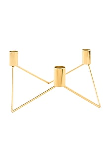 Gold Steel Geometrical Candle Holder (Set of 2) by Metl & Wood