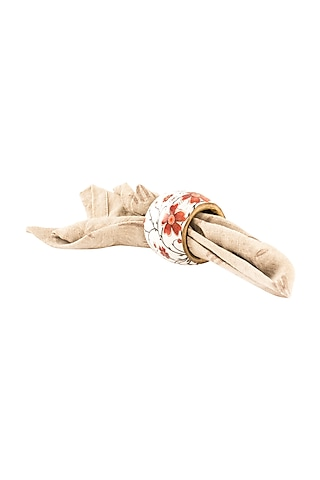 Floral Wood Napkin Ring (Set of 6) by Metl & Wood