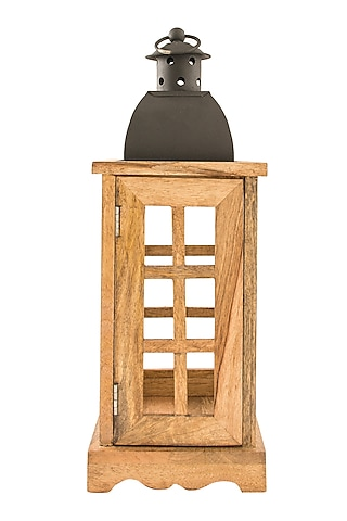 Rustic Brown Wood & Iron Lantern by Metl & Wood