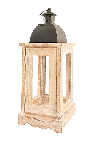 Brown Wood & Iron Lantern by Metl & Wood