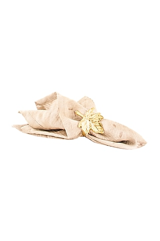 Gold Aluminium Maple-leaf Inspired Napkin Ring (Set of 6) by Metl & Wood