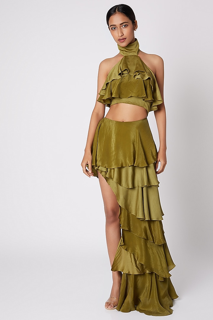 Olive Green Ruffled Top With Skirt by Deme by Gabriella