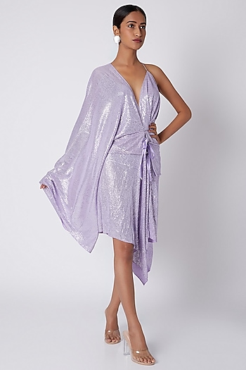 Lilac Draped Sequins Dress by Deme by Gabriella