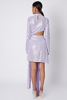 Lilac Sequins Draped Dress  by Deme by Gabriella