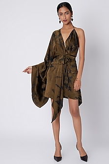 Dark Olive Green Tie-Dye Dress With Tassels by Deme by Gabriella