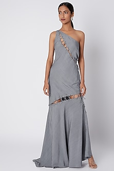 Grey One Shoulder Gown With Rivets by Deme by Gabriella