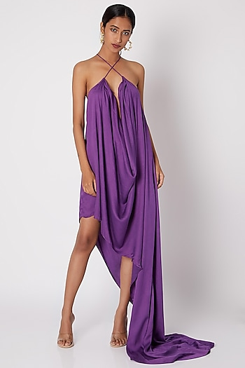 Purple Criss Cross Cowl Gown by Deme by Gabriella