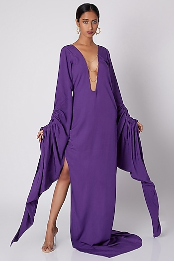 Purple Gown With Plunging Neckline by Deme by Gabriella