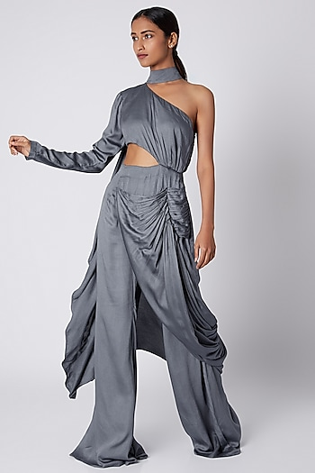 Grey One Shoulder Draped Jumpsuit by Deme by Gabriella