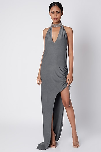 Grey High Neck Slit Gown by Deme by Gabriella