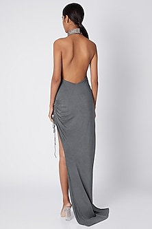 Grey High Neck Slit Gown by Deme by Gabriella