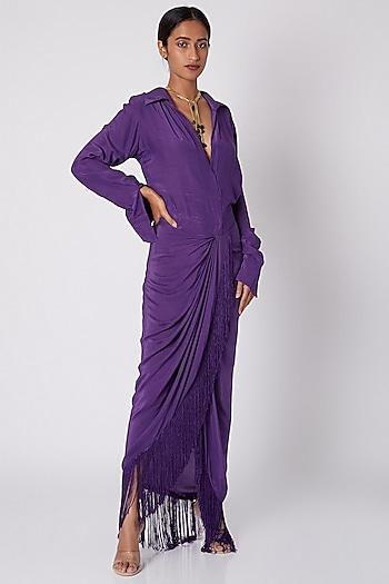 Purple Shirt Draped Dress by Deme by Gabriella