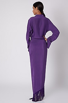 Purple Shirt Draped Dress by Deme by Gabriella