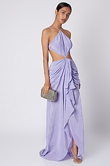 Purple Backless Cut Out Dress by Deme by Gabriella