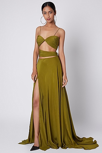 Olive Green Cut Out Gown by Deme by Gabriella