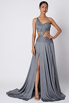 Grey Cut Out Tube Gown by Deme by Gabriella