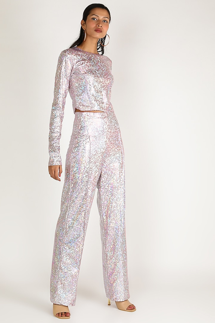 Pink Metallic Top With Full Sleeves by Deme by Gabriella