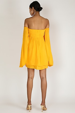Canary Yellow Off Shoulder Dress by Deme by Gabriella