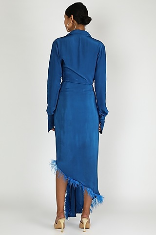 Cobalt Blue Draped High-Low Shirt Dress by Deme by Gabriella