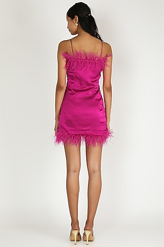 Fuchsia Tube Mini Dress With Feathers by Deme by Gabriella