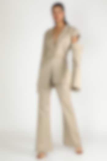 Beige Blazer With Shoulder Detailing by Deme by Gabriella