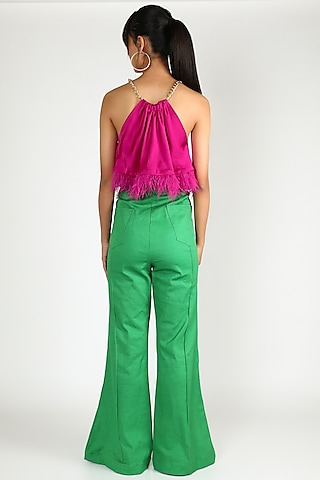 Fuchsia Satin Top With Chain Detailing by Deme by Gabriella