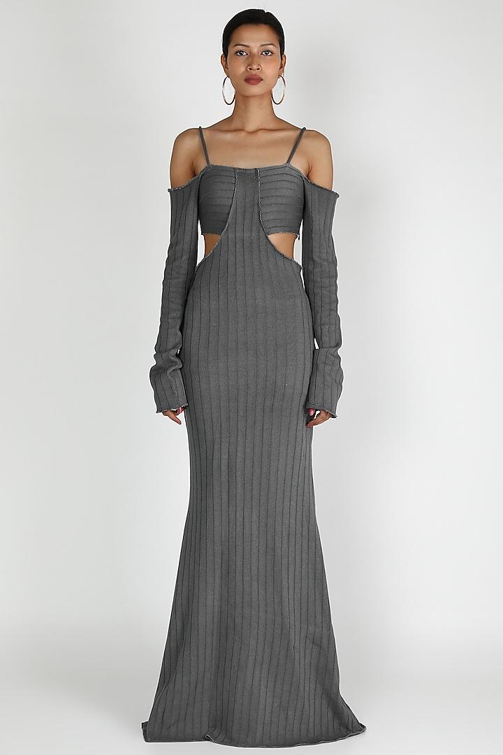 Grey Maxi Dress With Waist Cutout by Deme by Gabriella