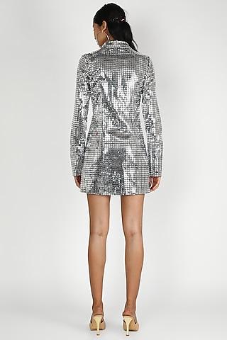 Silver Bodycon Shirt Dress by Deme by Gabriella