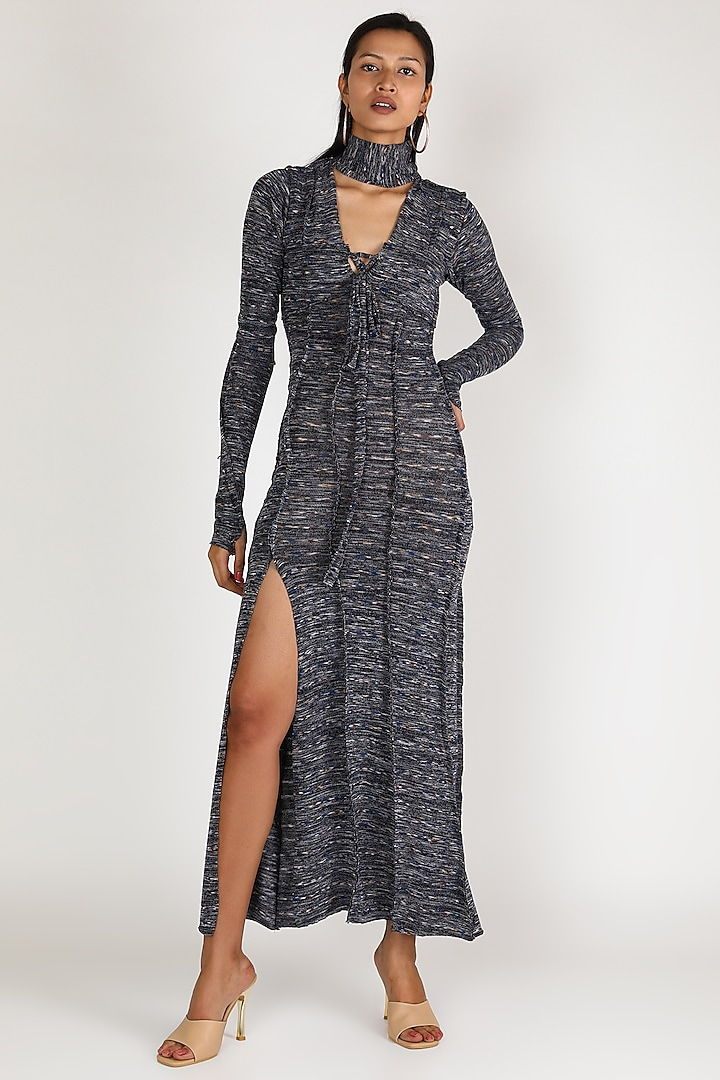 Grey Knitted Dress With Tie-Up by Deme by Gabriella