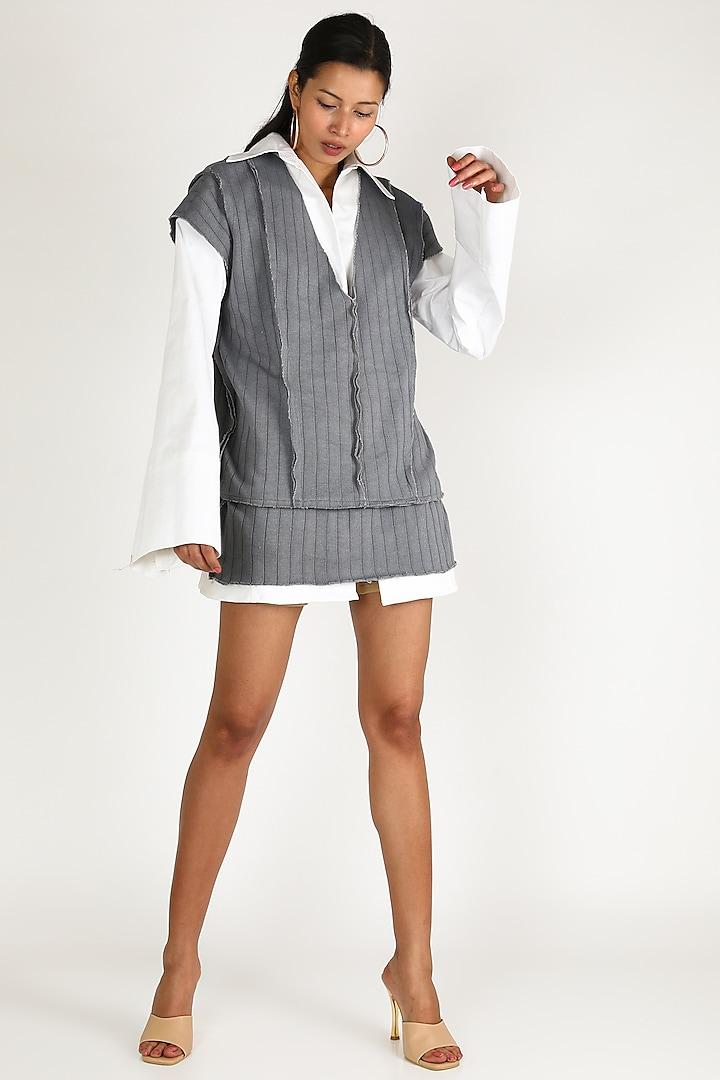 White Shirt Dress WIth Grey Vest by Deme by Gabriella