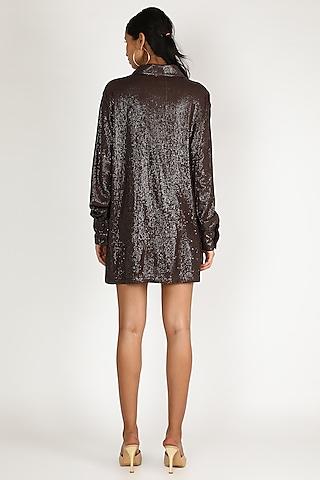 Brown Sequins Shirt Dress by Deme by Gabriella