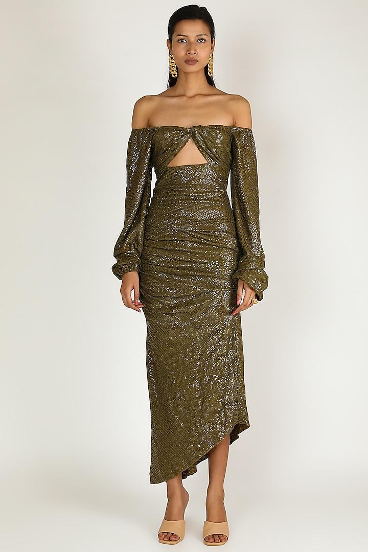 Olive Green Off Shoulder Dress by Deme by Gabriella
