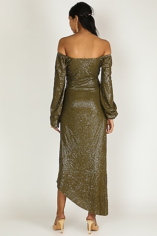 Olive Green Off Shoulder Dress by Deme by Gabriella