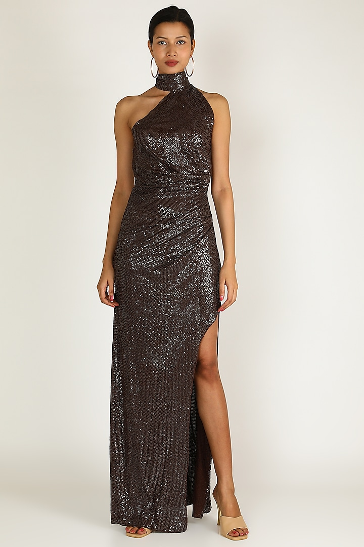 Brown Backless One Shoulder Dress by Deme by Gabriella
