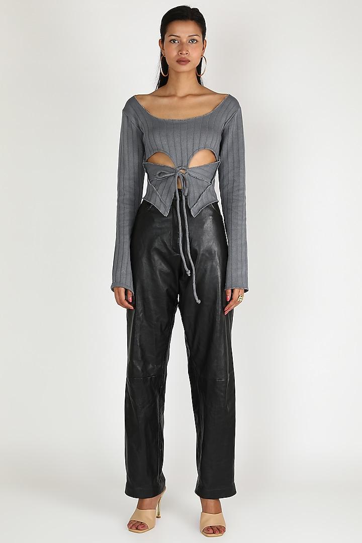 Grey Knit Rib Top by Deme by Gabriella