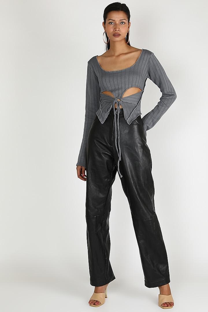 Black Leather Pants by Deme by Gabriella