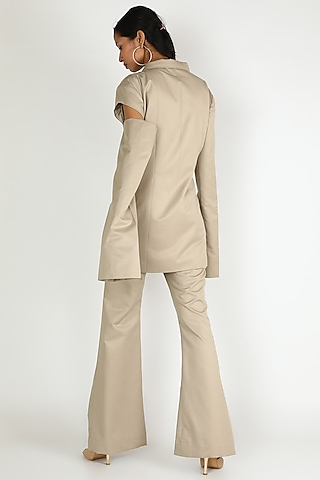 Beige Suiting Pants by Deme by Gabriella