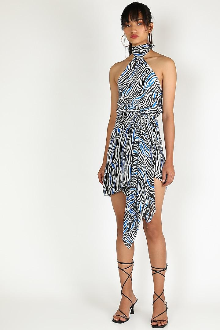 Blue One Shoulder Mini Dress by Deme by Gabriella