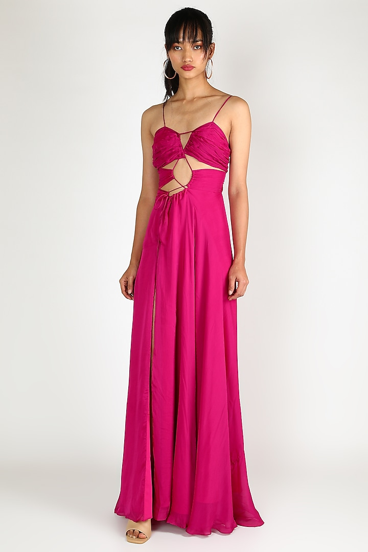 Fuchsia Criss Cross Gown by Deme by Gabriella