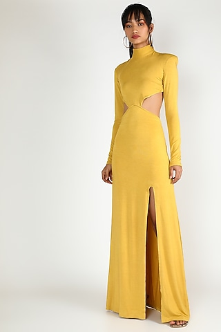 Yellow Gown With Exaggerated Shoulders by Deme by Gabriella