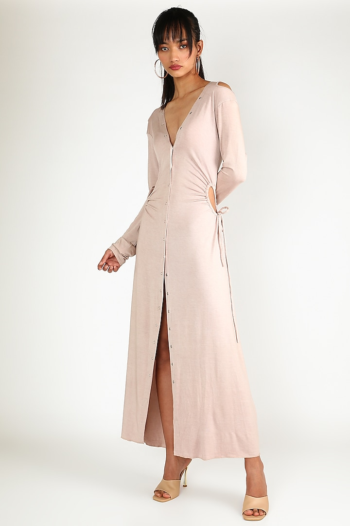 Nude Dress With Buttons by Deme by Gabriella