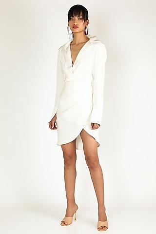 White Draped Shirt Dress by Deme by Gabriella
