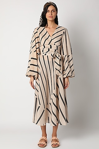 Beige Printed Wrap Dress by Deme by Gabriella
