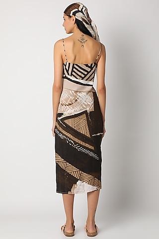 Brown Digital Printed Slip Dress by Deme by Gabriella