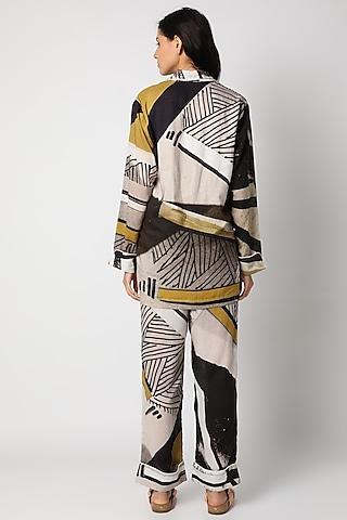 Brown Digital Printed Night Suit by Deme by Gabriella